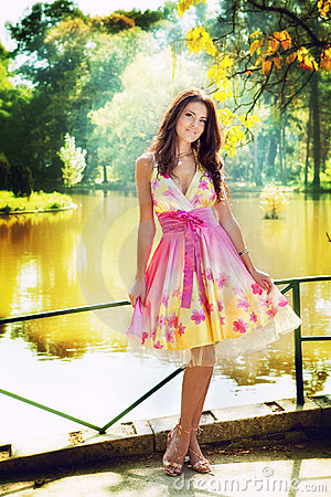 Free Woman Outdoor With Colorful Dress Royalty Free Stock Images - 13400289
