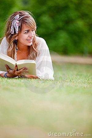 Woman outdoors reading