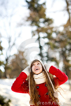 Woman outdoors in winter