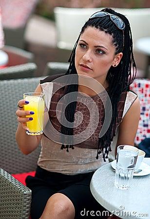 Woman in outside bar