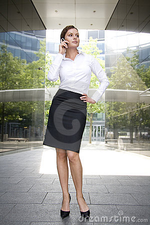 Woman outside a modern building