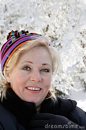 Woman outside on snowy day