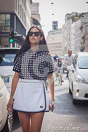 Free Woman Outside Trussardi Fashion Shows Building For Milan Women S Fashion Week 2014 Stock Photography - 45270562