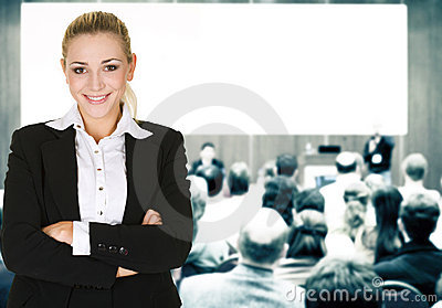 Woman over conference hall