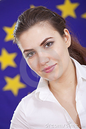 Woman over european union flag