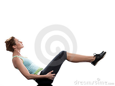 Woman paripurna navasana boat pose yoga posture