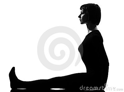 woman paschimottanasana yoga pose royalty free stock