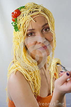Woman with pasta on her head
