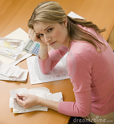 Free Woman Paying Bills Stock Photo - 14647260