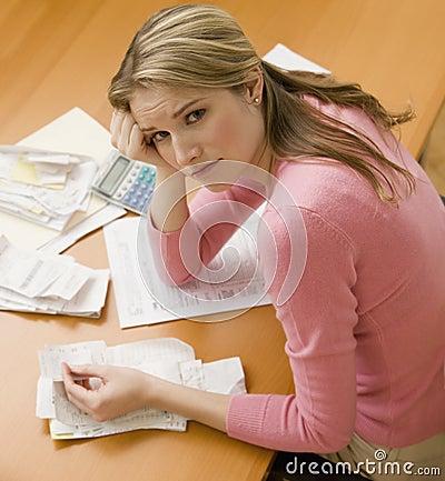 Woman Paying Bills