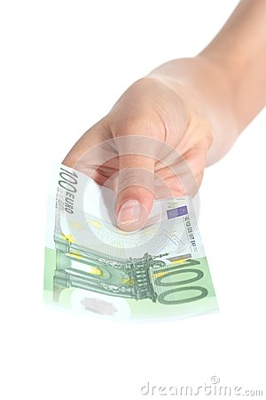 Woman paying a one hundred euros banknote