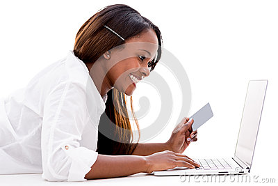 Woman paying online