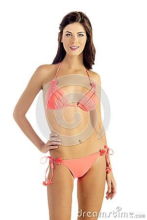 Woman in Peach Bikini