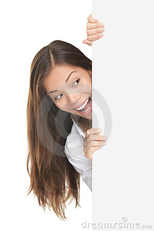 Free Woman Peeking Sign Royalty Free Stock Photo - 16763165