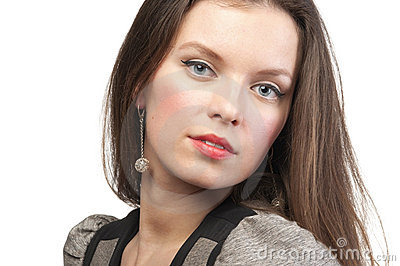 Woman with perfect make-up, close-up, isolated