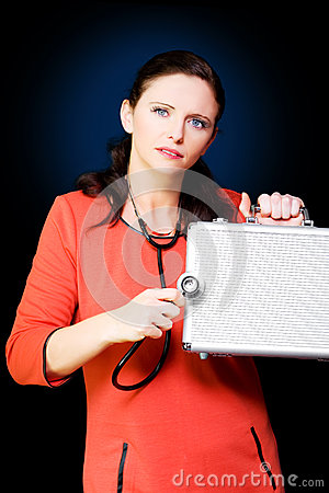 Woman Performing Business And Finance Health Check