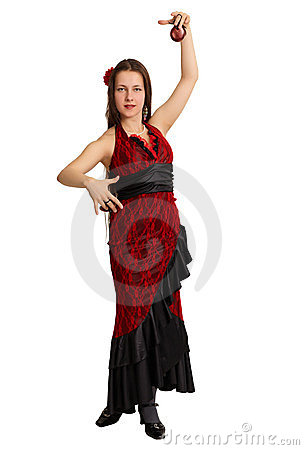 Woman performs the Spanish dance with castanets