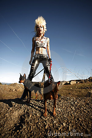 Woman with pet dogs