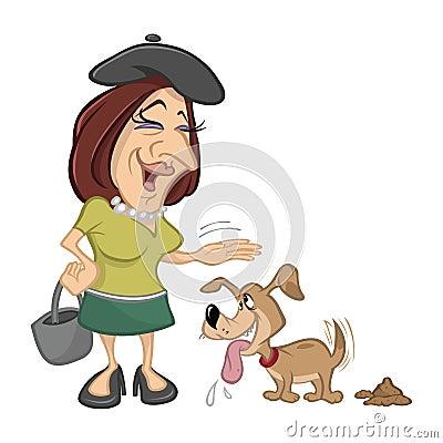 Woman petting pet dog