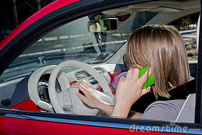 Woman on the phone in the car