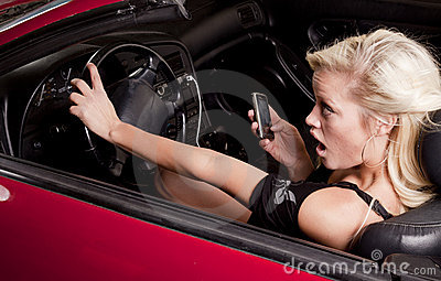 Woman phone car about to crash