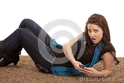 Woman phone floor mouth open