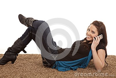 Woman phone floor smiling