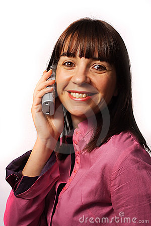 Woman on the phone smiles