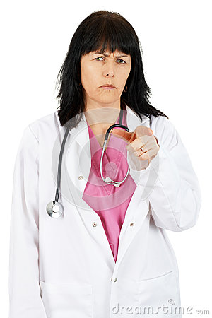 Woman physician pointing at you