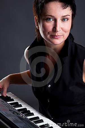 Woman with piano
