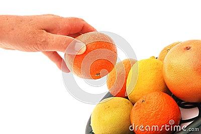 Woman picking fresh fruit