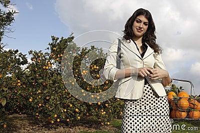 Woman Picking Oranges