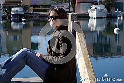 Woman at pier