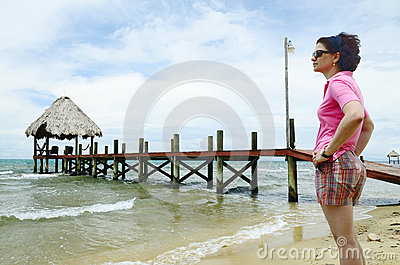 Woman by a pier