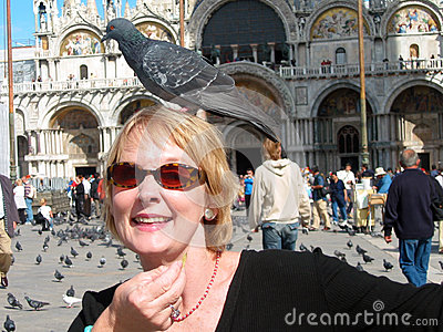 Woman with Pigeon on Head