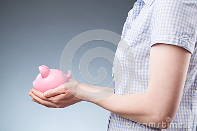 Woman with a Piggy Bank, Side View