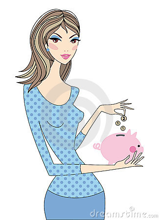 Woman with piggy bank, vector