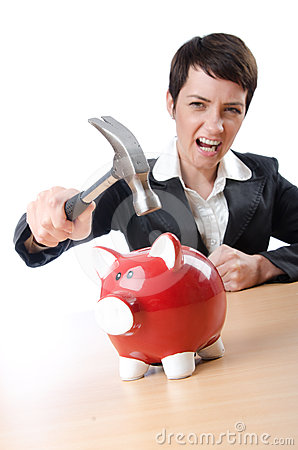Woman and piggybank