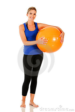 Woman with pilates ball