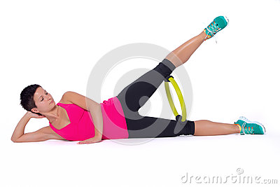 Woman with Pilates ring