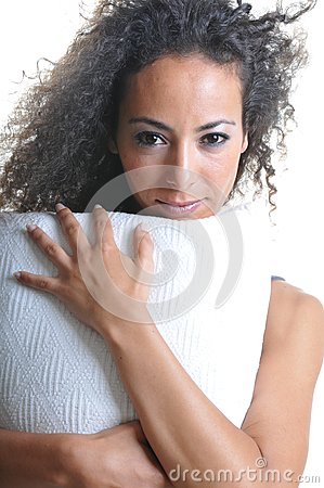 Woman with pillow