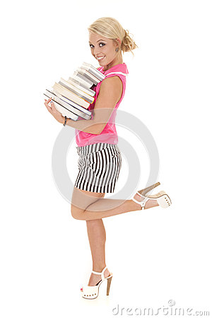 Woman in pink and black stripes books leg up