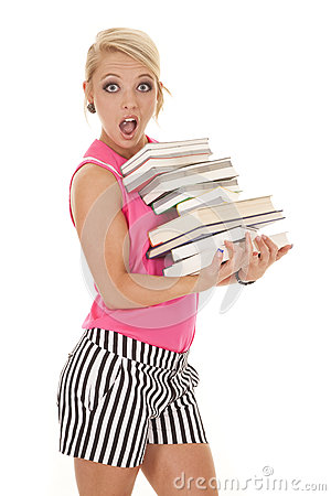 Woman in pink and black stripes books shock