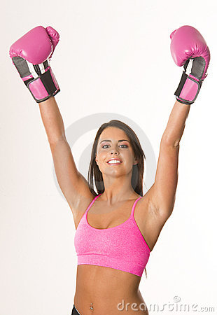 Woman with pink boxing gloves winner