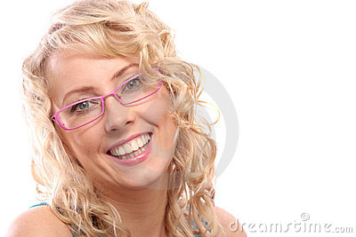 Woman in pink glasses
