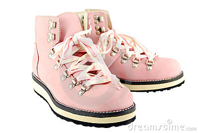 Woman Pink Hiking Boots Stock Photography - Image: 17055482