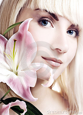 Woman with pink lily