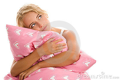 Woman with pink pillow