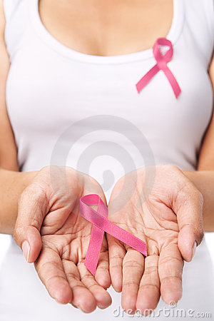 Woman & pink ribbon to support breast cancer cause