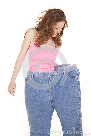 Free Woman Pink Top Look Down Big Pants Royalty Free Stock Image - 29527156